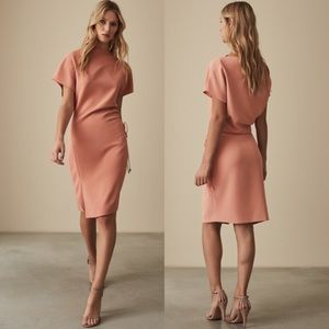 REISS Marcia Waist Ruched Side-tie Crepe Dress 4